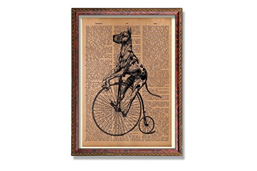- Antique steampunk dog print Animal decor Upcycled Vintage Dictionary Paper