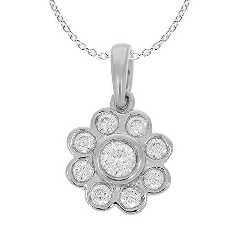 Diamant pendentif mode 1/4 ct tw rond coupé or blanc 9K