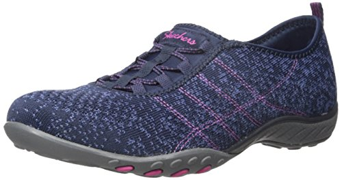 Memory Air - Skechers Sport Women's Breathe Easy Fortune Fashion Sneaker,Navy/Blue Mesh/Fuchsia Trim,6.5 M US