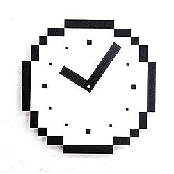 TianriJ Art Mute Non-Ticking Pixel Lattice Black and White Living Room Bedroom Children's Room Kindergarten Decoration Wooden Wall Clock American Modern Small Wall Clock 29 29cm Well-Made
