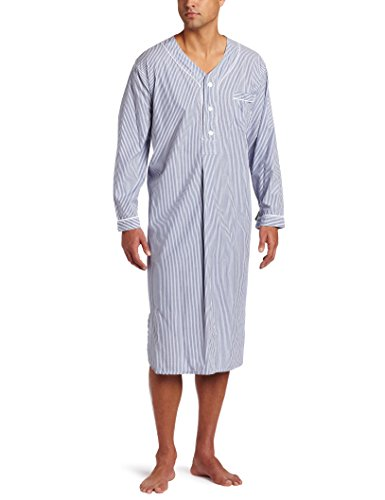 Majestic International Men's Bengal Stripe Nightshirt, Navy, Large/X-Large by Majestic International