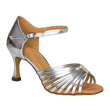 femenino Cuero No práctica personalizables modernas talón Chunky de Cuero Sneakers América Zapatos baile Silver HRTpIwqC