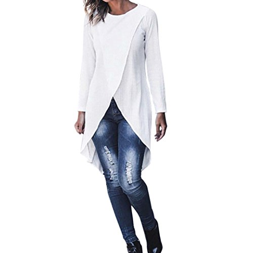 iYYVV Women Crop Top Casual Long Sleeve Asymmetrical Blouse Pullover Tunic Shirt for $<!--$5.82-->