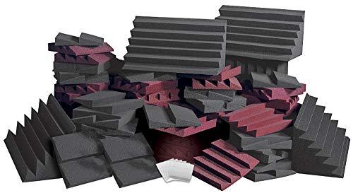 Auralex ROOMADCHA/BUR Alpha-DST Roominator Kit:32- DST112 Panels- Charcoal; 32- DST114 Panel- Burgundy; 4-LENRD Bass Trap-Charcoal; 2 TTPRO