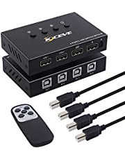 USB Switch Selector MLEEDA KVM Switch 4 Computers Sharing 4 USB Devices,USB 2.0 Peripheral Switcher Box Hub for Keyboard Mouse Printer Scanner.with Remote Control and 4 USB Cable