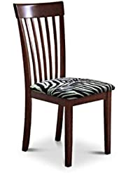 6 New Cappuccino Espresso Finish Wooden Dining Chairs With A Black White Zebra Faux Fur Padded Seat Cushion Theme