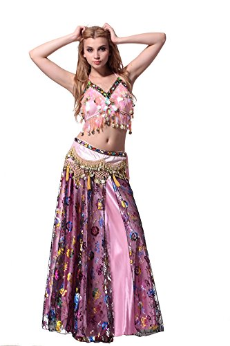 Feimei Woman Exotic Jasmine Tribal Belly Dance Costume with Halter Top Sparkly and Fringe Skirt -