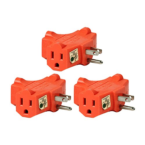 Price comparison product image (3 Pack) Uninex T-shape Triple (3) Outlet Heavy Duty Grounded Wall Plug Tap Adapter Orange