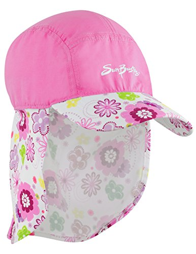 SunBusters Girls Flap Hat (UPF 50+), Poppyberry, Large