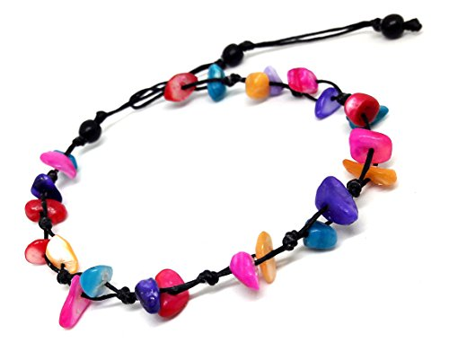 Colorful Dyed Shell Chip Anklet or Bracelet Beautiful 26 cm.Handmade for Women Teens and Girls