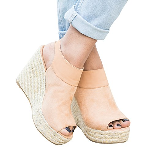 Syktkmx Womens Espadrille Platform Wedge Peep Toe Ankle Strap Mid Heel Suede Sandals (Wedge Toe Ankle Strap)