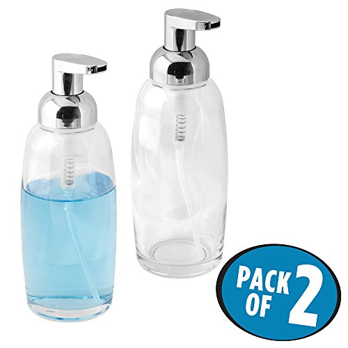 - mDesign Modern Glass Refillable Foaming Soap Dispenser Pump Bottle for Bathroom Vanities or Kitchen Sink, Countertops - Pack of 2, Clear with Chrome Pump Head