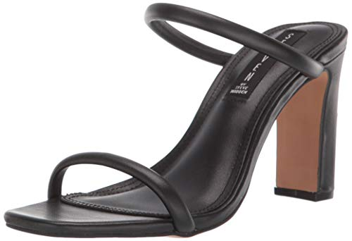 - STEVEN by Steve Madden Women's Jersey Heeled Sandal, Black Leather, 7 M US