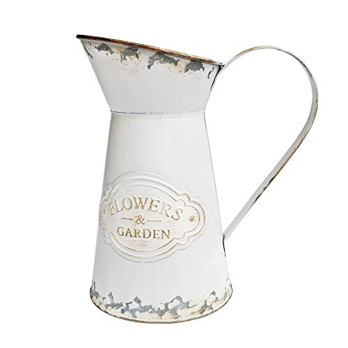 VANCORE Shabby Chic Style White Metal Vase Mini Milk Can Jug Rustic Pitcher Flower Holder (Rustic Vases)