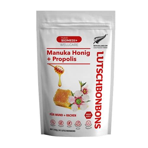 Purao Biomedi Manuka Honing Zuigtabletten met Propolis voor mond en keel, 42 Zuigtabletten (250 g) in hersluitbare zak