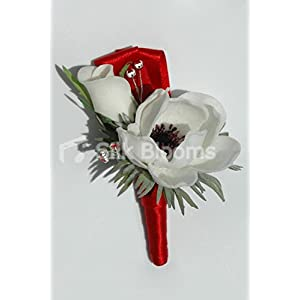 Real Touch White Anemone & Rose Wedding Grooms Poppy Buttonhole 78