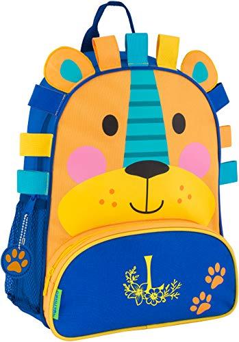 (Monogrammed Me Sidekick Backpack, Blue Lion, with Flower Monogram L)