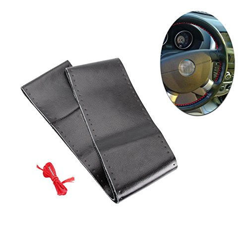 Madlife Garage DIY Universal Thread Leather Stitch On Wrap Steering Wheel Cover + Needle For 14