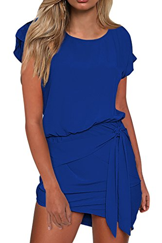 MIHOLL Women's Smmer Short Sleeve Round Neck Self Tie Mini Dresses (Blue, Medium) Neck Tie Design