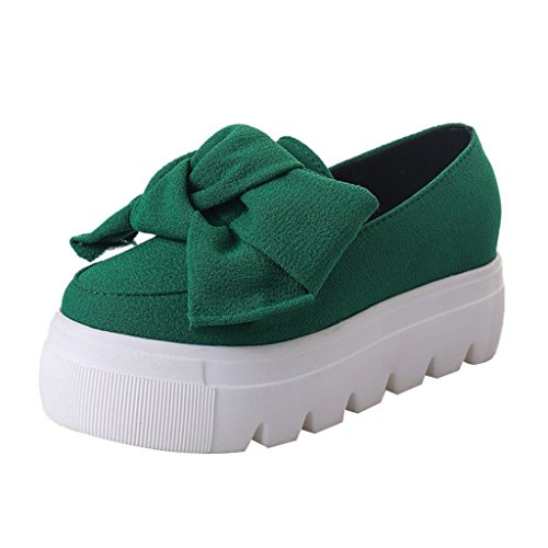 Dear Time Women Loafers Shoes Bowknot Creepers Green Ek8KQc