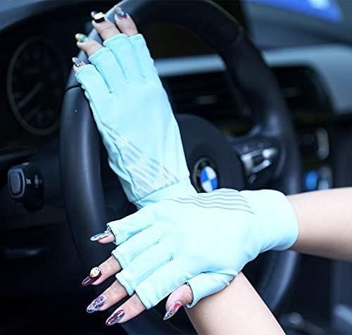 手袋 日常 実用 日焼け止め手袋99%UVプロテクションUPF300スポーツ通気性保護手袋 (Color : Blue, Size : L-One pair)