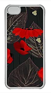 Brian114 iPhone 5C Case - Red Poppy 13 Hard Clear iPhone 5C Cover, iPhone 5C Cases, Cute iPhone 5c Case