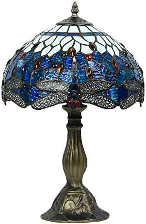 GlassMyth Lighting Tiffany Lamp W12H18 Inch Antique Blue Dragonfly Stained Glass Crystal Gem Table Lamp