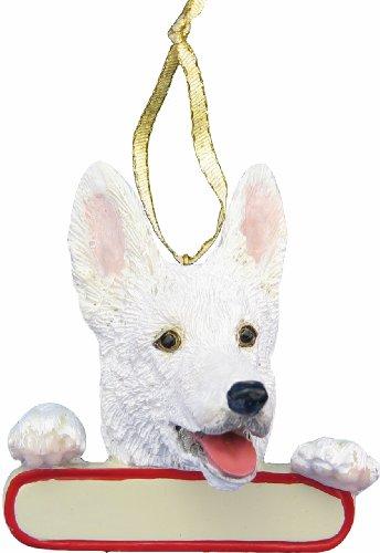German Shepherd Ornament White
