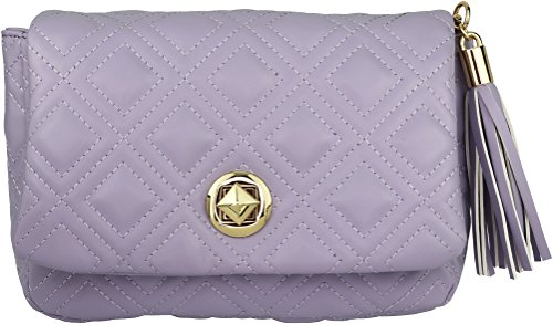 B BRENTANO Vegan Quilted Flap-Over Crossbody Bag with Chain Strap and Tassel Accent (Lavender)