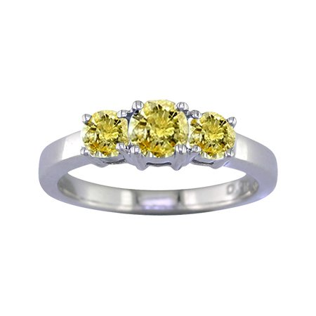 1/2 CT 3 Stone Yellow Diamond Ring 14K White Gold In Size 7 (Available In Sizes 5 – 10)