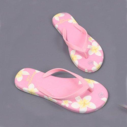 arena Sandalias flops zapatos de impresa mujeres flor Mujer de para Verano flip RETUROM Rosa playa 1p1OqTr