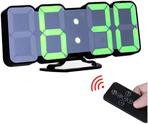 EAAGD 3D Wireless Remote Digital Wall Alarm Clock, with 115 Color Variations of LED Digital, Voice Control Mode, Remote Controller, 3 Levels of Brightness to Adjust Black