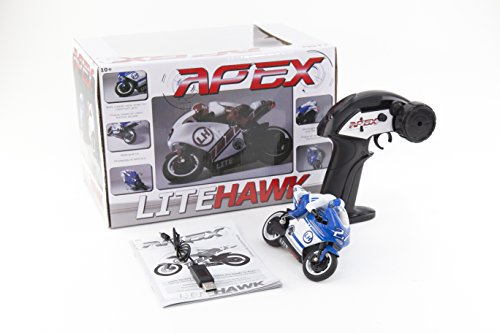 LiteHawk Apex RC Toy Motorcycle, Assorted Colors (Red and Blue)