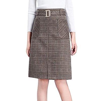 Women's A-Line Plaid Pencil Skirt Office Knee Length Slit Mini Skirt with Belt