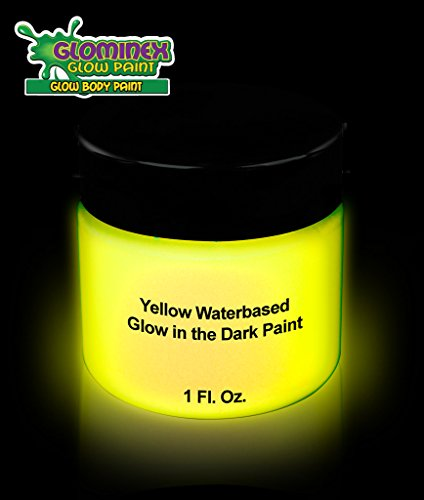 Cool Body Paint Costumes (Glominex AD389 Glow Body Paint 1oz Jar - Yellow)