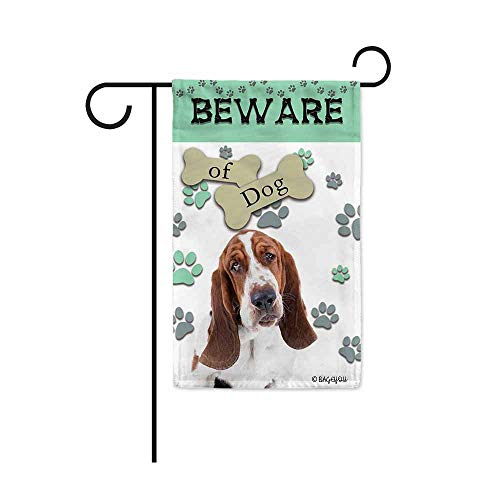 BAGEYOU Beware of Dog Basset Hound Decorative Garden Flag Puppy Paws Bone Home Decor Yard Banner for Outside 12.5X18 Inch Printed Double Sided
