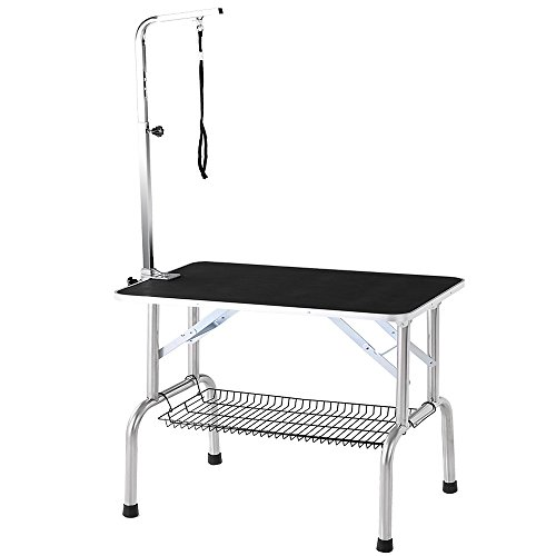iKayaa Portable Dog Grooming Table with Arm and Noose and Shelf Heavy-Duty Folding Pet Bath Accessories