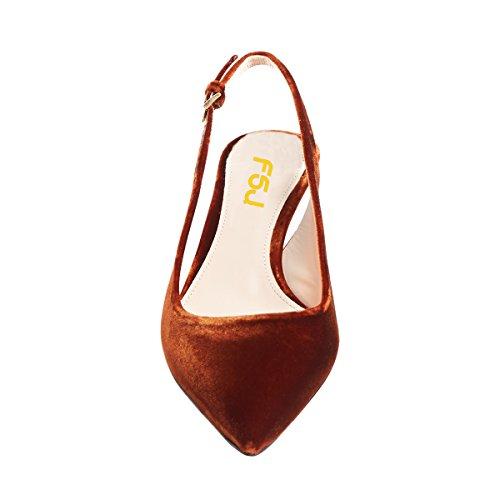 Size Velvet Women Shoes Heels Classy Kitten 15 Slingback Pointy 4 Pumps Comfort FSJ Mid Toe Dress US Brown OdI7w7
