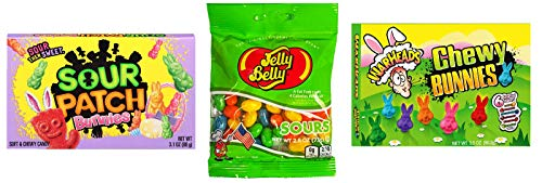 Sour Easter Candy 3 Pack Mix | 1 Box Sour Patch Bunnies, 1 Box Warheads Chewy Bunnies, and 1 2.6 oz. pack Jelly Belly Sours