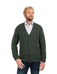 SAOL 100% Merino Wool Mens V Neck Cable Cardigan