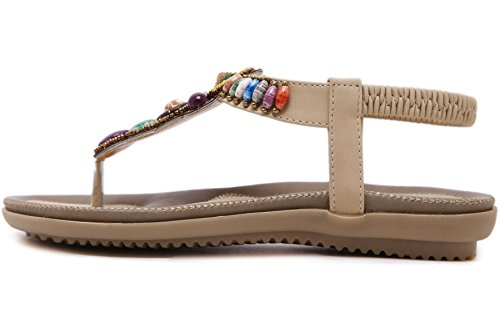 Multicoloured Beach Beads Thong Soft Flats Comfortable Elastic Sandals Sole Beige BIGTREE Women Sandals Bohemian 4qnSxwXCtp