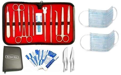 22 Pcs Advanced Dissecting Kit for Anatomy and Biology Medical Students with Scalpel Knife Handle | 100% Stainless Steel Dissecting Kit | Two Surgical Masks