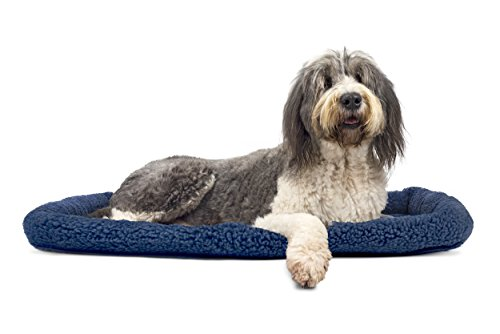 1 Piece Blue Medium Dog Crate Pad, Bolster Pet Bed Waterproof Pet Mat 30 Inches Faux Sheepskin Plush Berber Fabric Interior Quilted Pad Insulating Foam Soft Comfortable Modern, Polycanvas -
