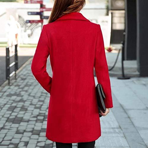 Automne Coat Femme Parka Longues Jours Laine Fashion Les Hipster Rouge Slim Fit Affaires Poches Hiver Trendy Synthtique Casual Tous Costume Outerwear Confort avec Manches Manteau gOnvrg