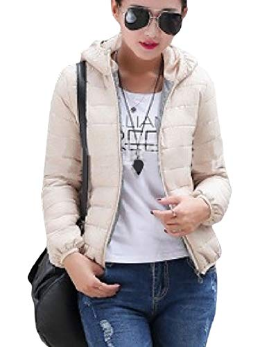Zipper Coat Skinny Pure Hooded Colour Short Beige Warm Energy Wool Women's WqBwOnUzxI