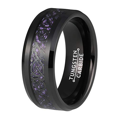 - BestTungsten 6mm 8mm Black Tungsten Rings for Men Women Wedding Bands Celtic Dragon Purple Carbon Fiber Inlay Comfort Fit