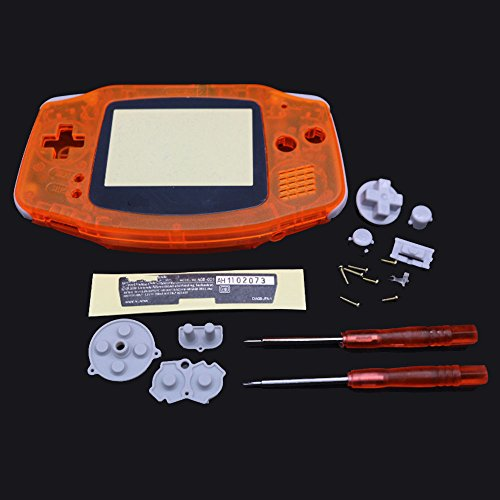 Junsi Clear Orange Housing Shell Case w/Screwdrivers for Nintendo Gameboy Advance - City Flappy