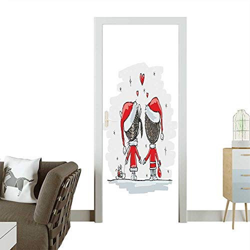 Door Art Sticker Soul Mates Love Couples with Santa Costumes Family Romance Winter Night Picture Room decorationW31 x H79 -