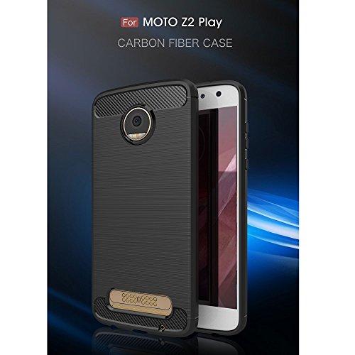 Roi Boutique Motorola Moto Z2Play TPU Case Carbon Fibre Optique Brushed Coque gris