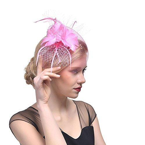 Discount Wedding Veils (Sunyastor Women's Fascinators Hat, Mesh Feather Fascinator Flower Hair Clip Veil Derby Hat Bridal 1920s Headpiece for Cocktail Wedding Tea Party (Pink))